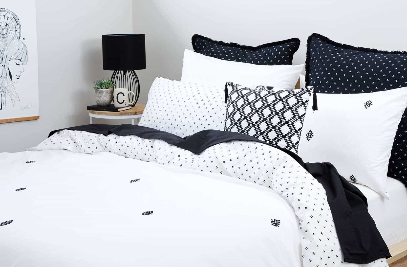 black and white bedding lorraine lea in small guest bedroom
