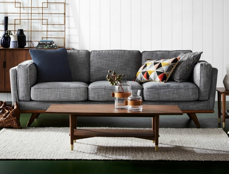 dahlia three seater sofa in charcoal grey from freedom