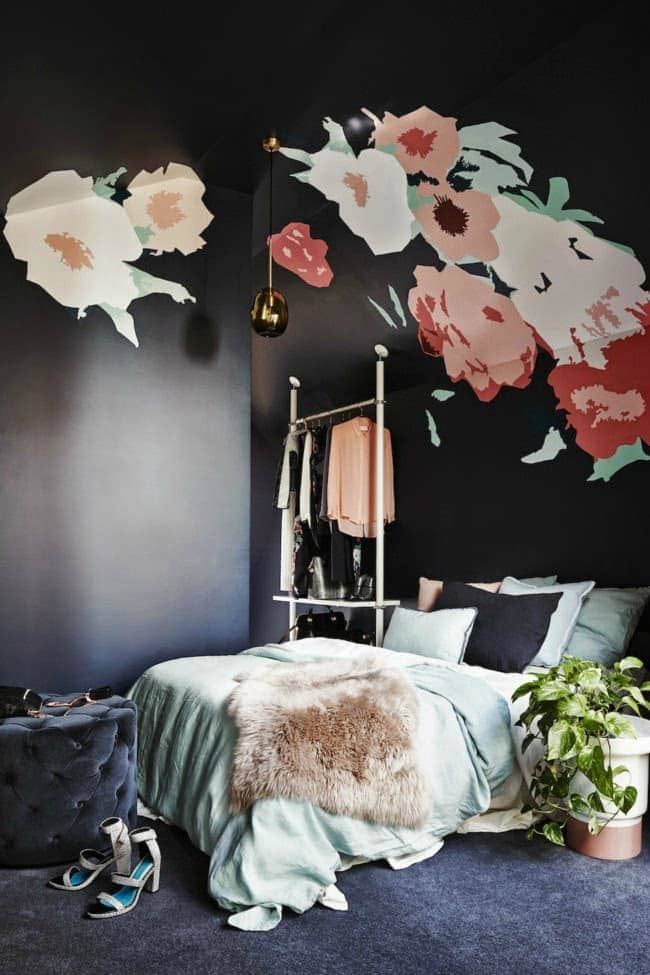 dulux black painted bedroom with floral wall mural