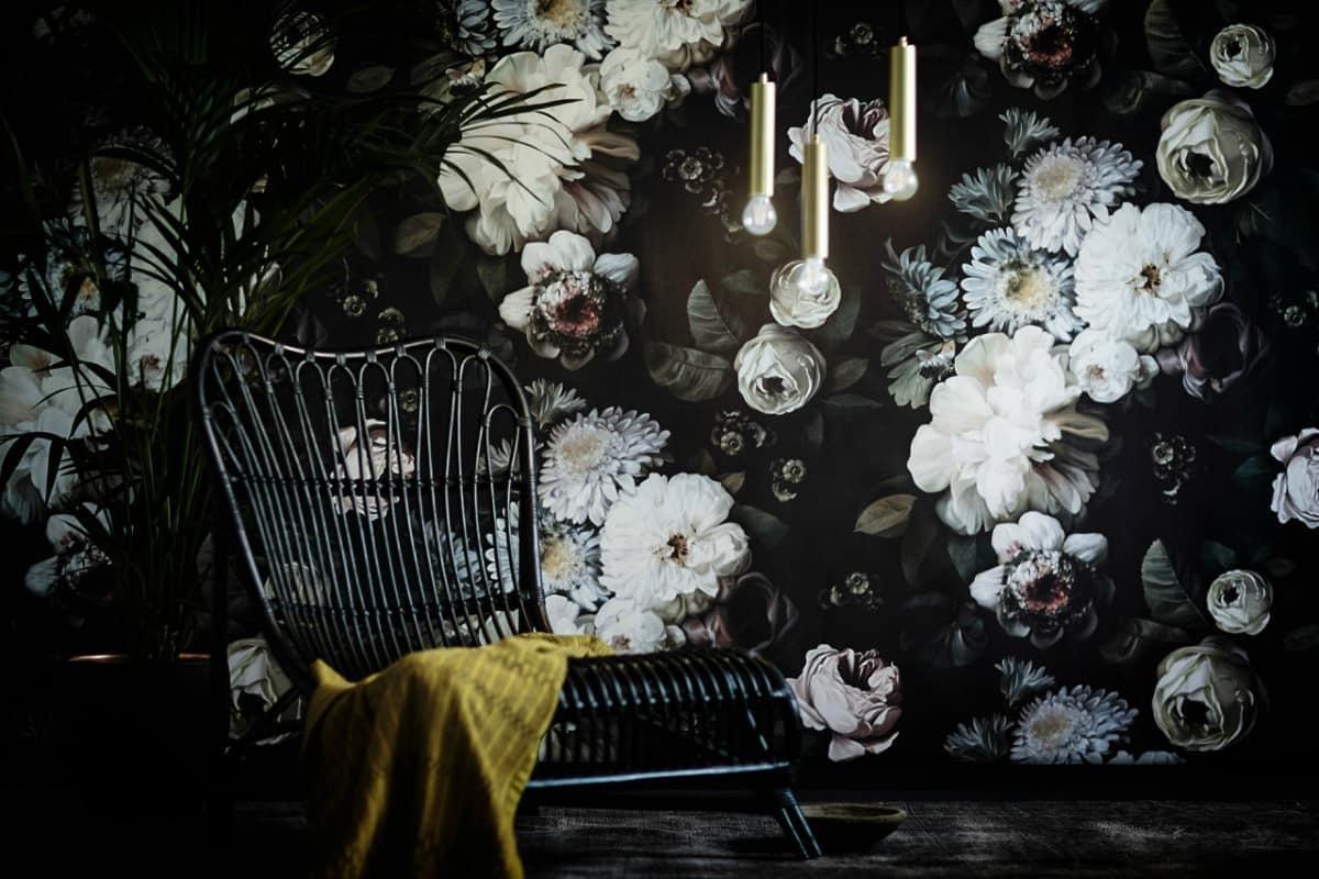 ellie cashman dark floral wallpaper design