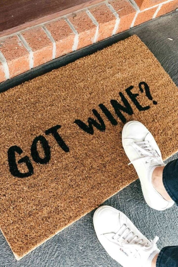 funny doormat with got wine text from dont be a doormat