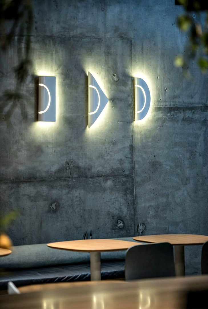 furl lighting range from marz design on concrete wall