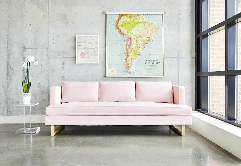 gus aubrey three seater sofa in pink from globewest