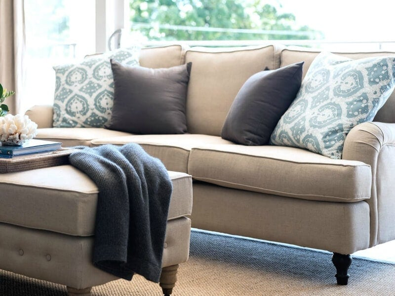 natural linen sofa with rolled arms from lavender hill interiors