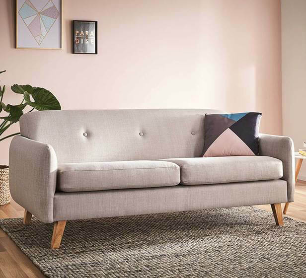 olson three seater sofa in light grey from fantastic furniture
