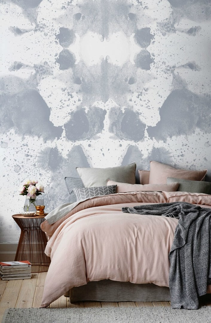 rorschach and murals wallpaper design bedroom with abstract watercolour wallpaper