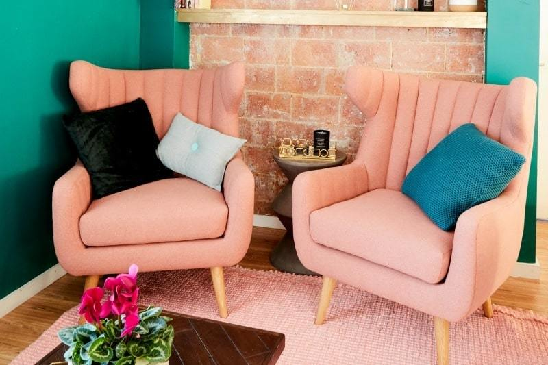 House Rules 2017 kate and harry apricot armchairs in communal area