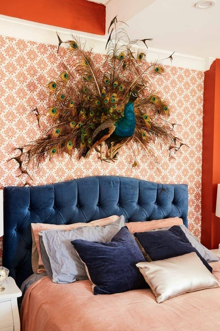 House Rules 2017 kate and harry charity bedroom with peacock taxidermy