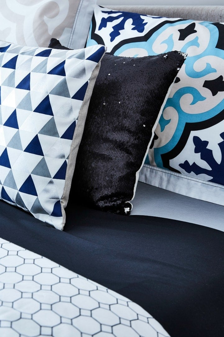 blue white and black bed styling ideas from lorraine lea and tlc interiors
