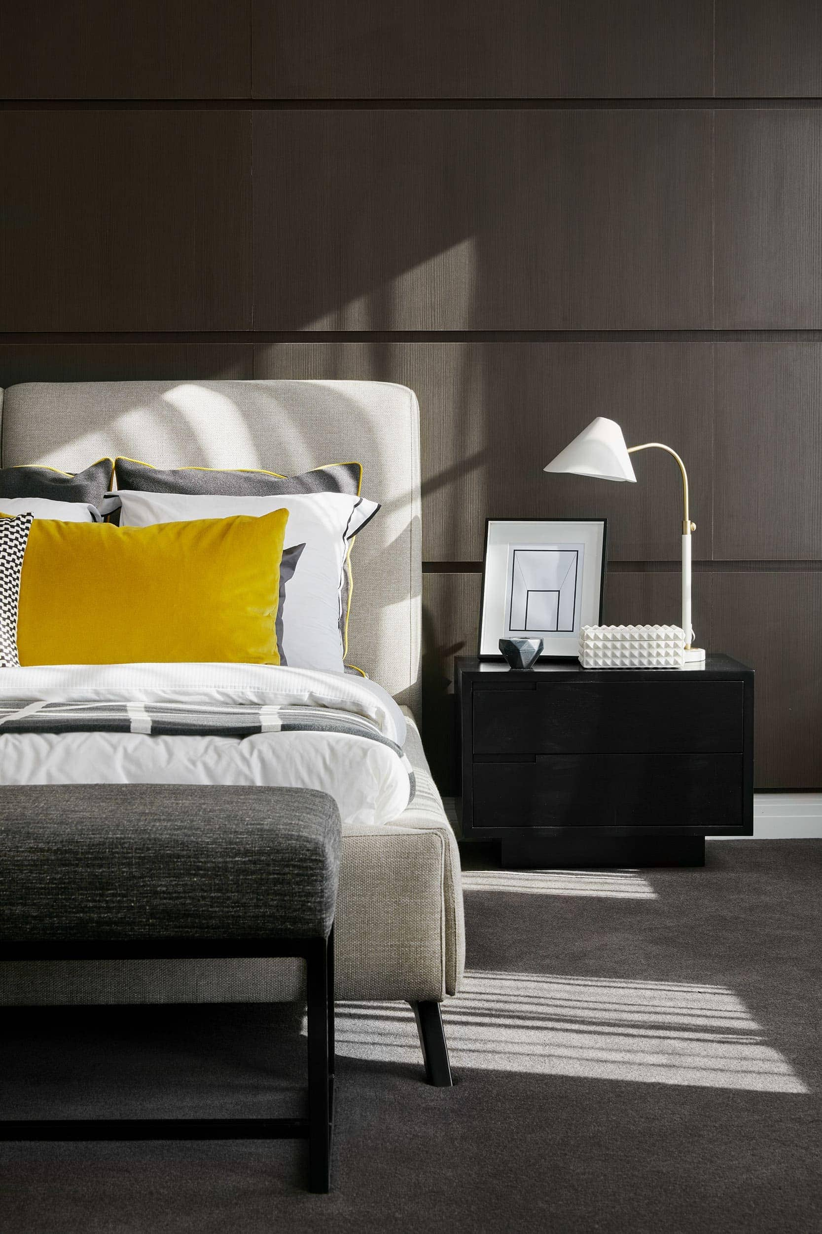 Your guide to the most popular interior design styles Master bedroom with yellow walls