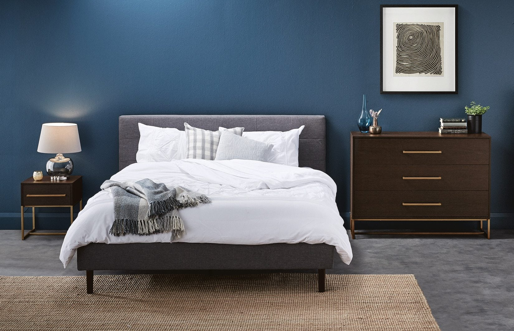 bedroom furniture in dark brown wood with gold handles from aldi