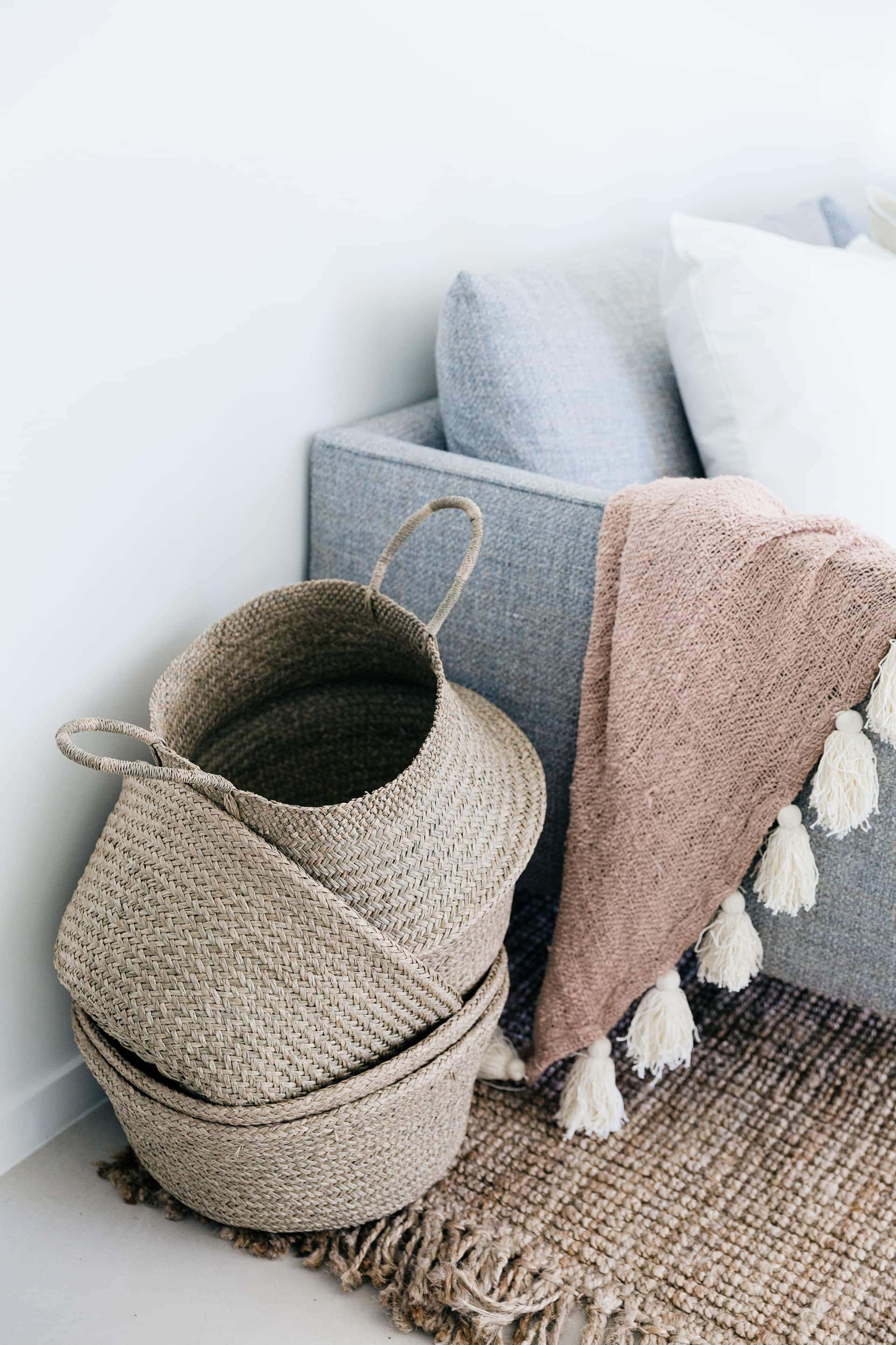 belly baskets by southbound in living room with sisal rug