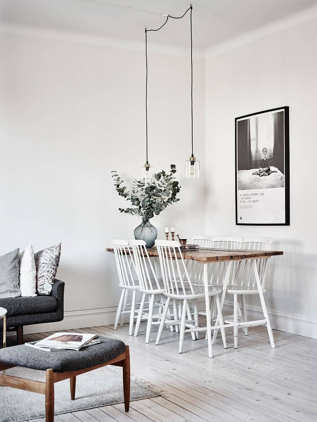 classic scandinavian dining room with scandi dining chairs and pendant
