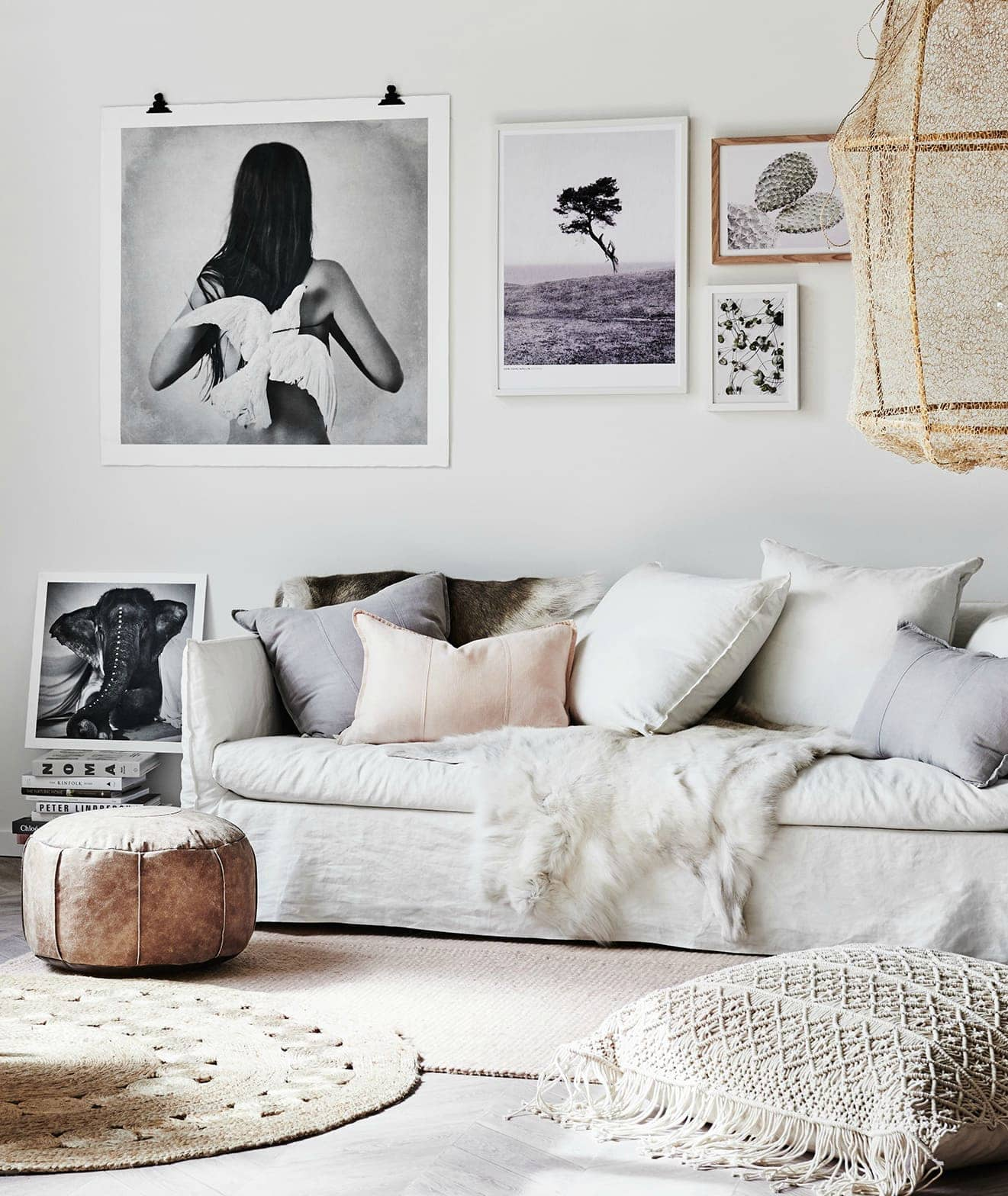 coastal bohemian living room from norsu with white slip cover sofa