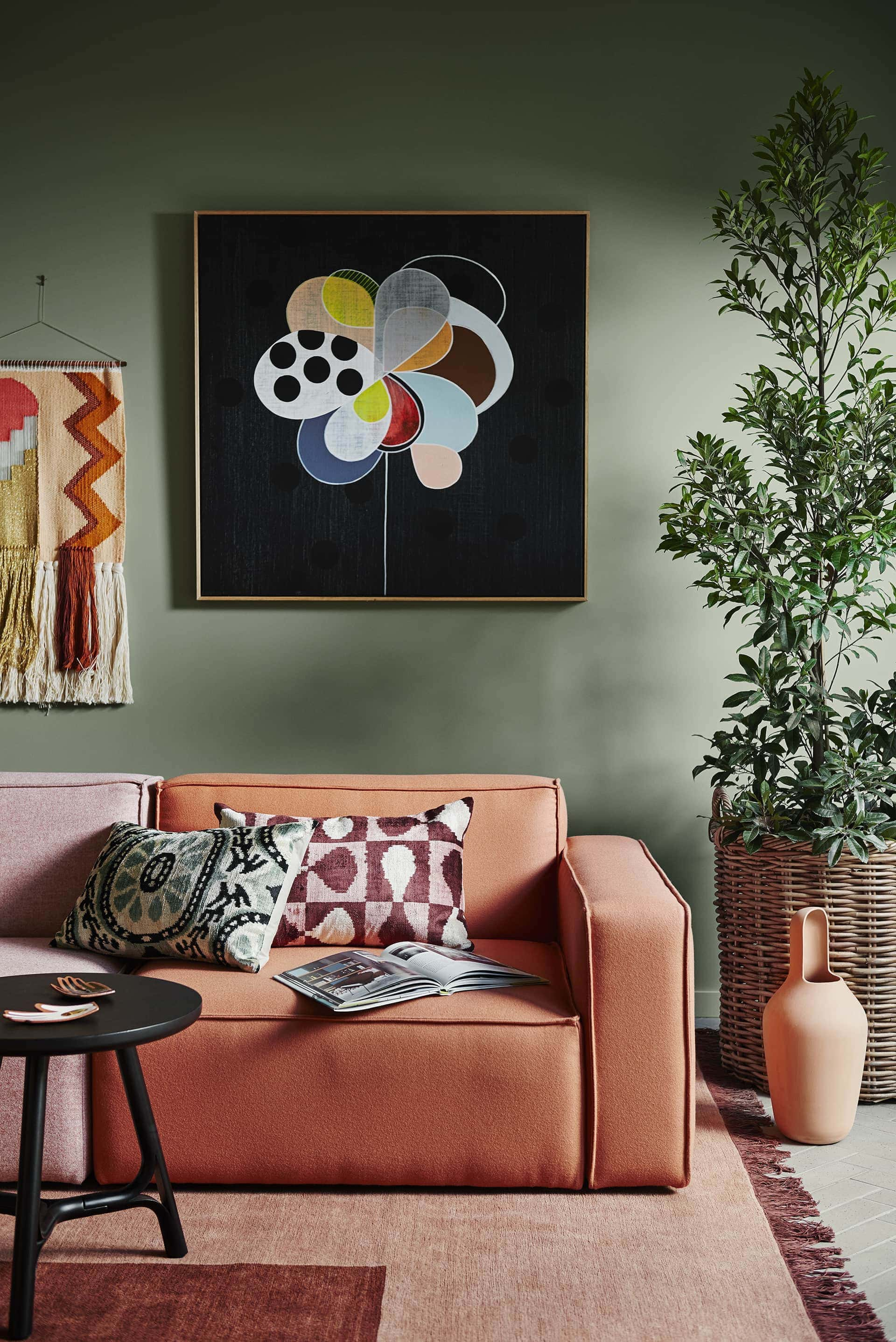 dulux 2018 paint colour forecast kinship olive green wall with terracotta sofa