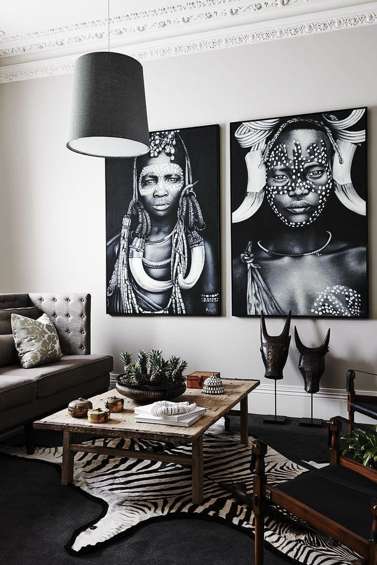 global interior design living room with african artworks