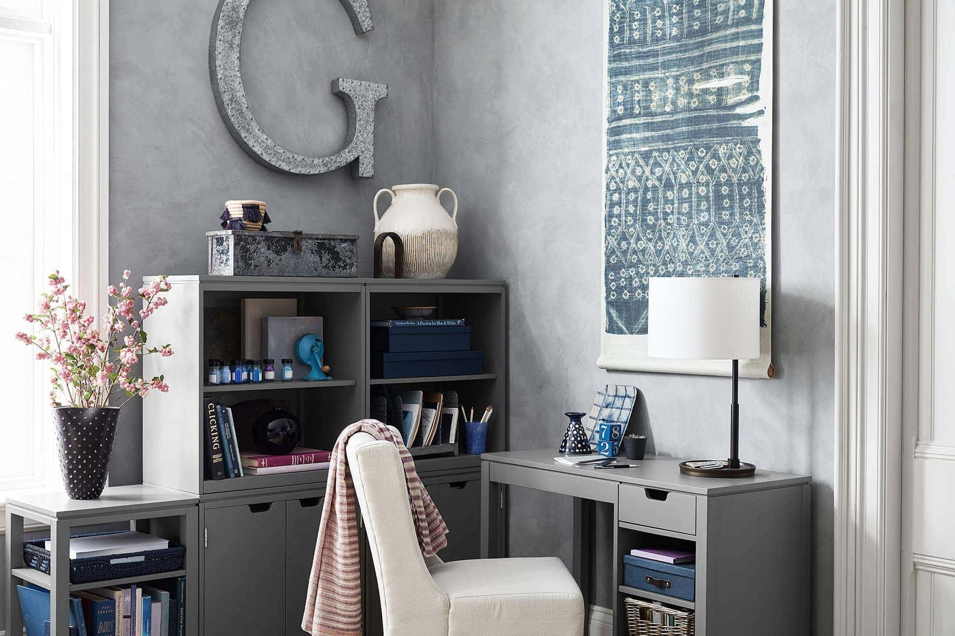 grey home office ideas with cream upholstered chair from pottery barn