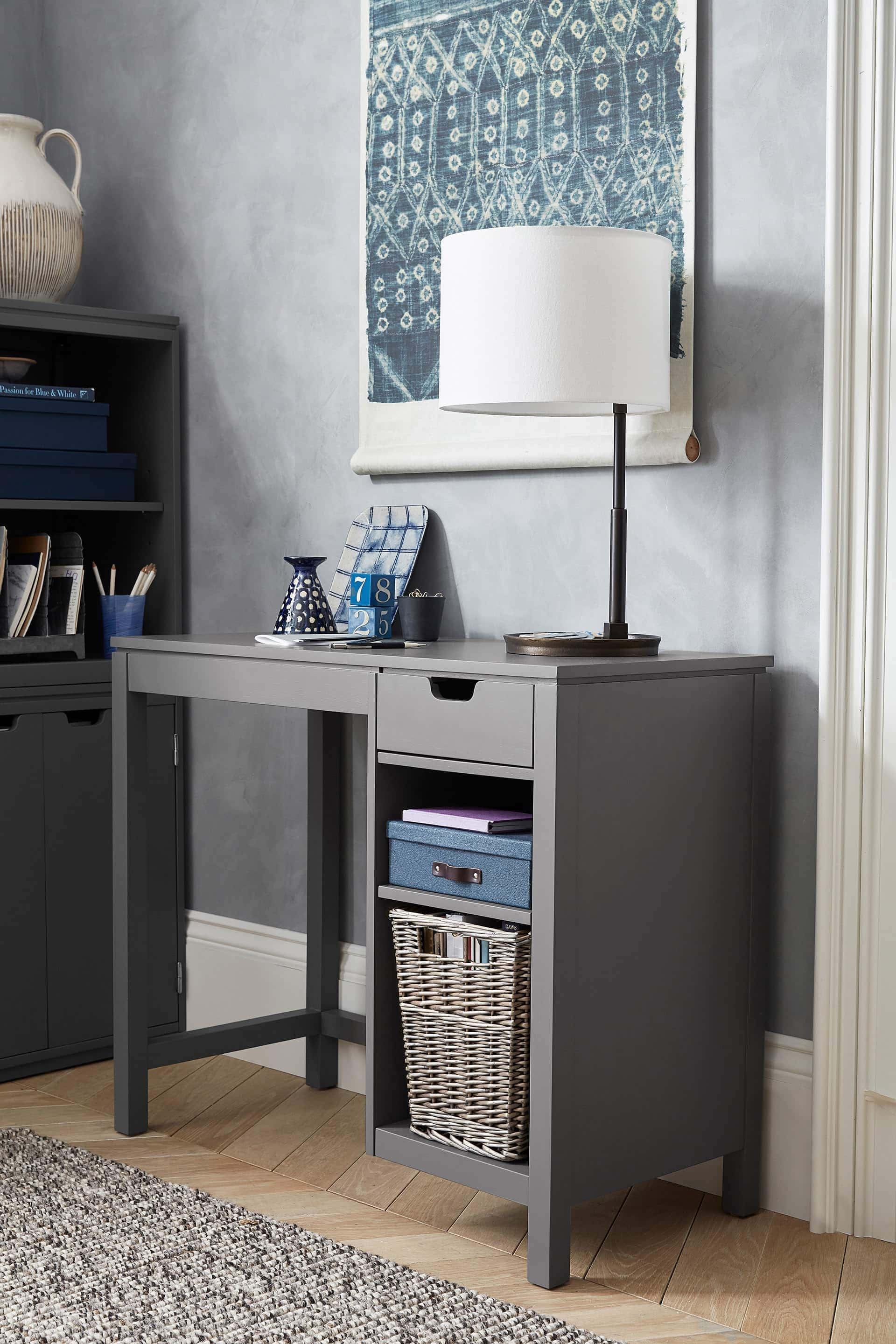 grey office desk from pottery barn with linen table lamp