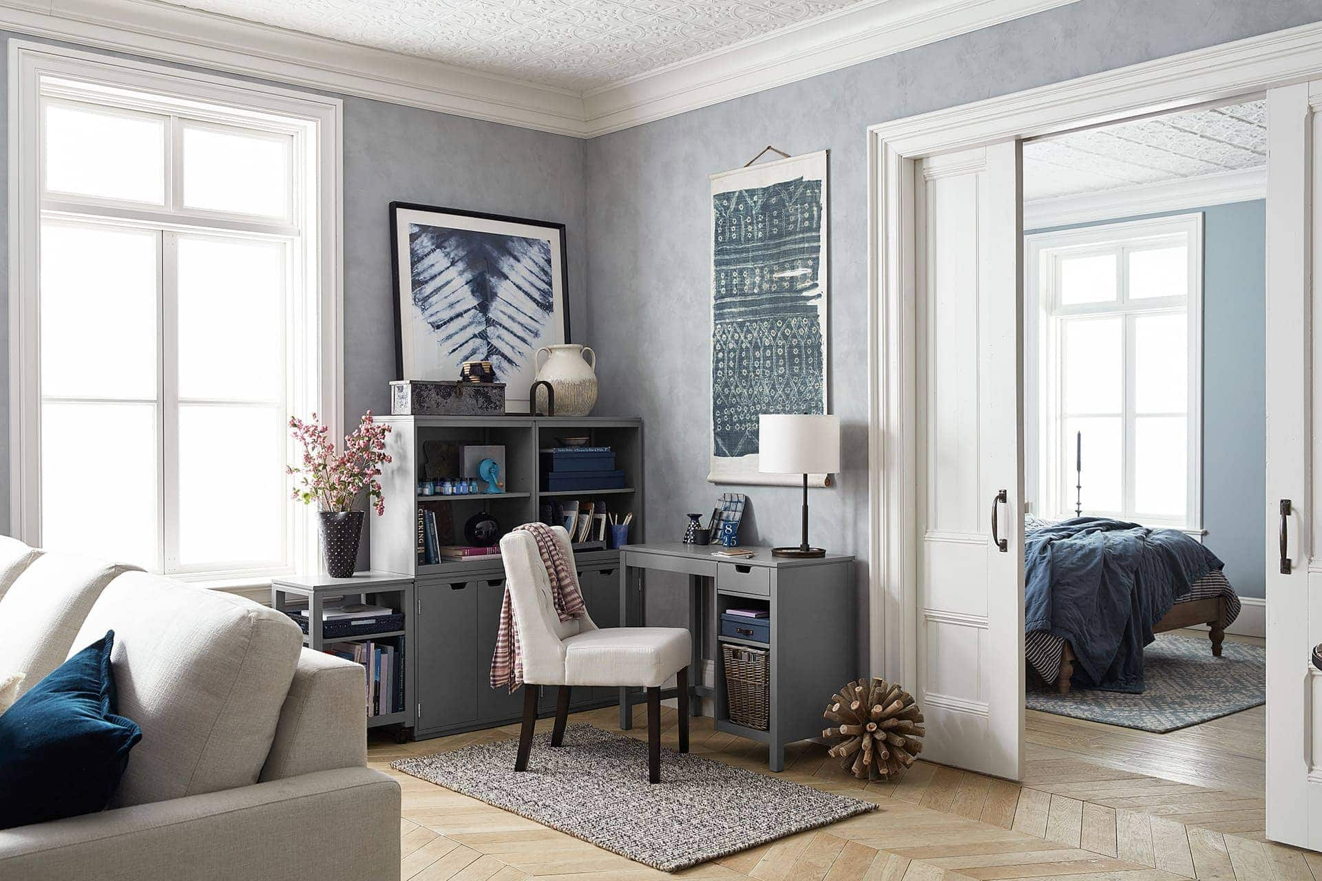 home office in living room from pottery barn with cream upholstered office chair