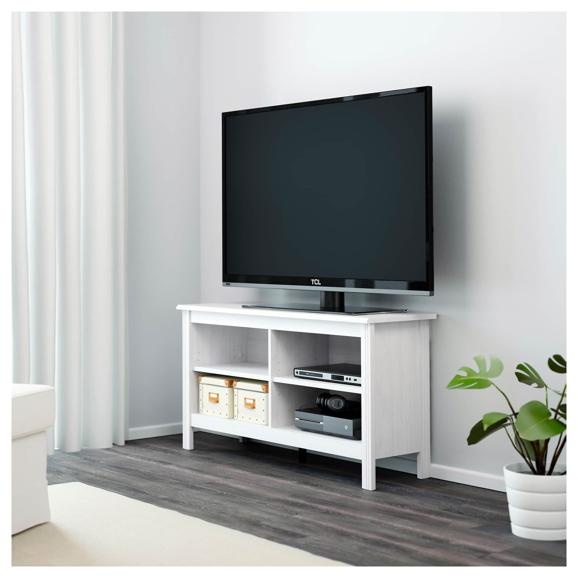 ikea white entertainment unit with TV