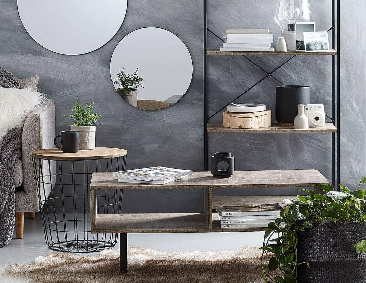 kmart round mirrors on grey painted wall