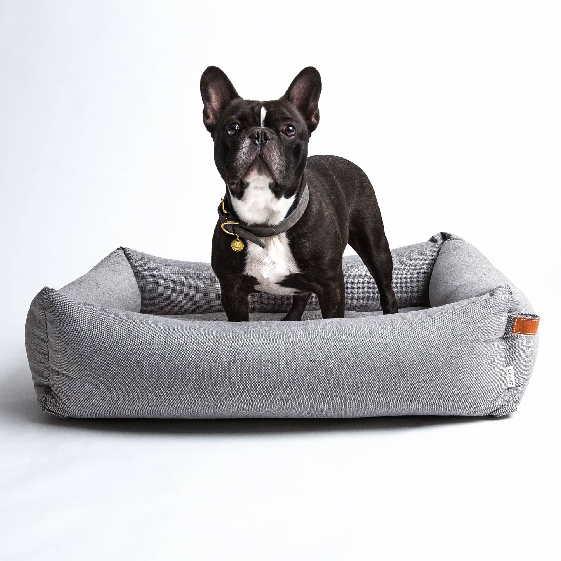 lavish tales designer dog bed in grey fabric