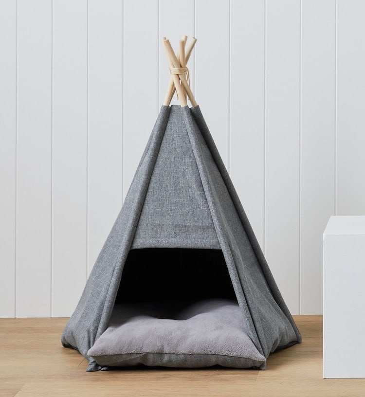 lorraine lea sampson pet teepee cave in grey for cats and dogs