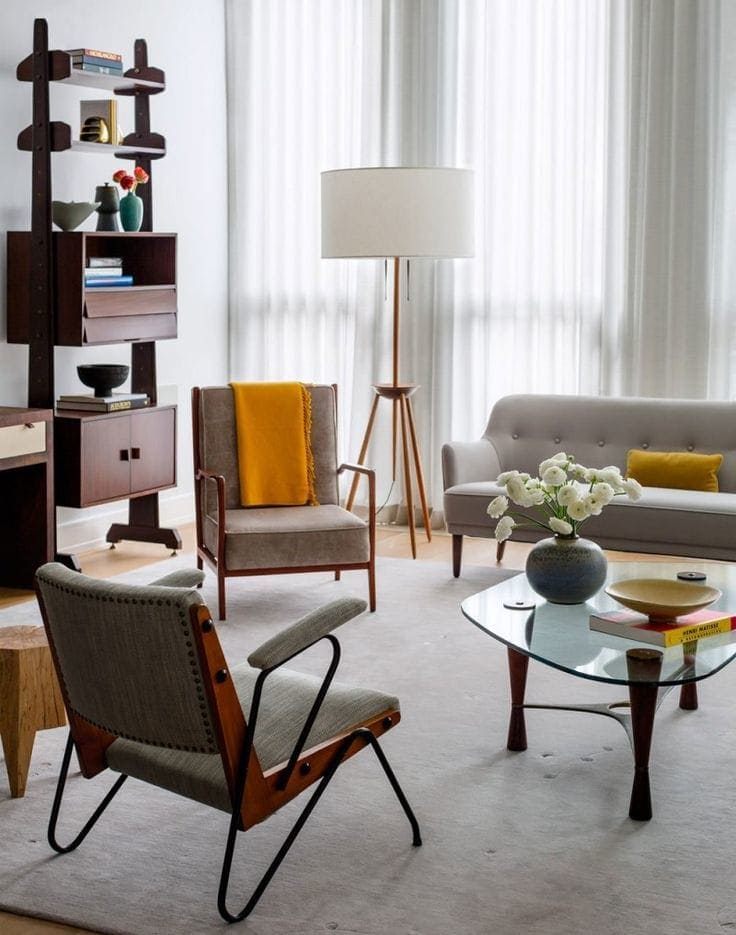 mid century modern living room ideas with grey sofas and yellow accents