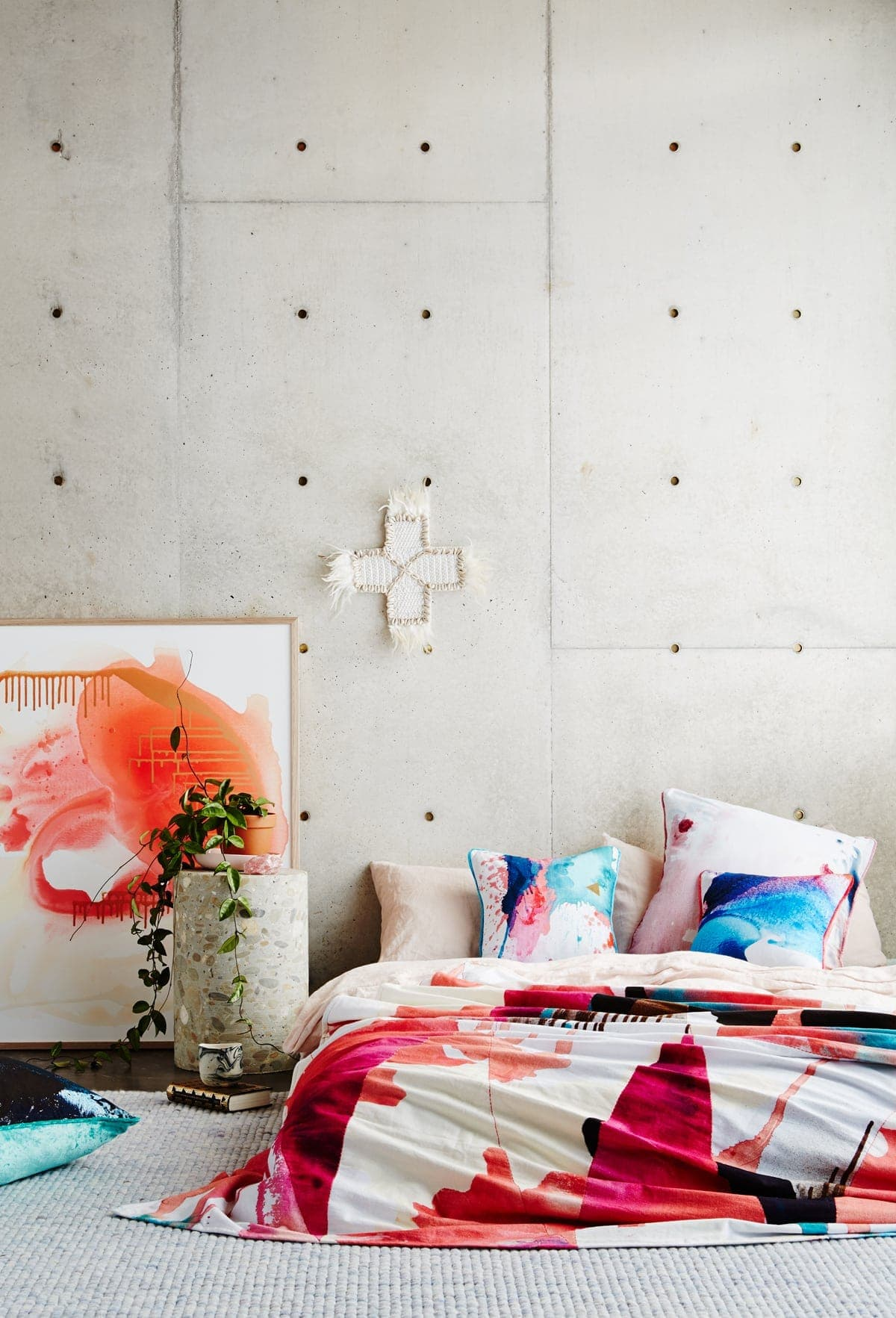 modern australian interior design colourful bedroom with polished concrete floor