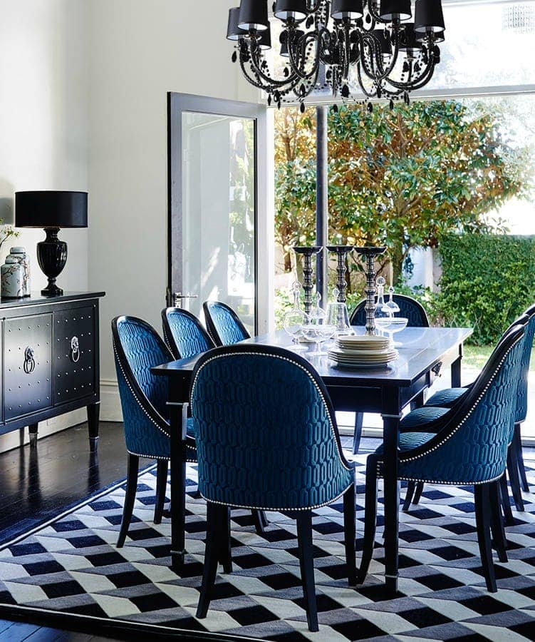 regency style dining room by greg natale in black and blue pattern