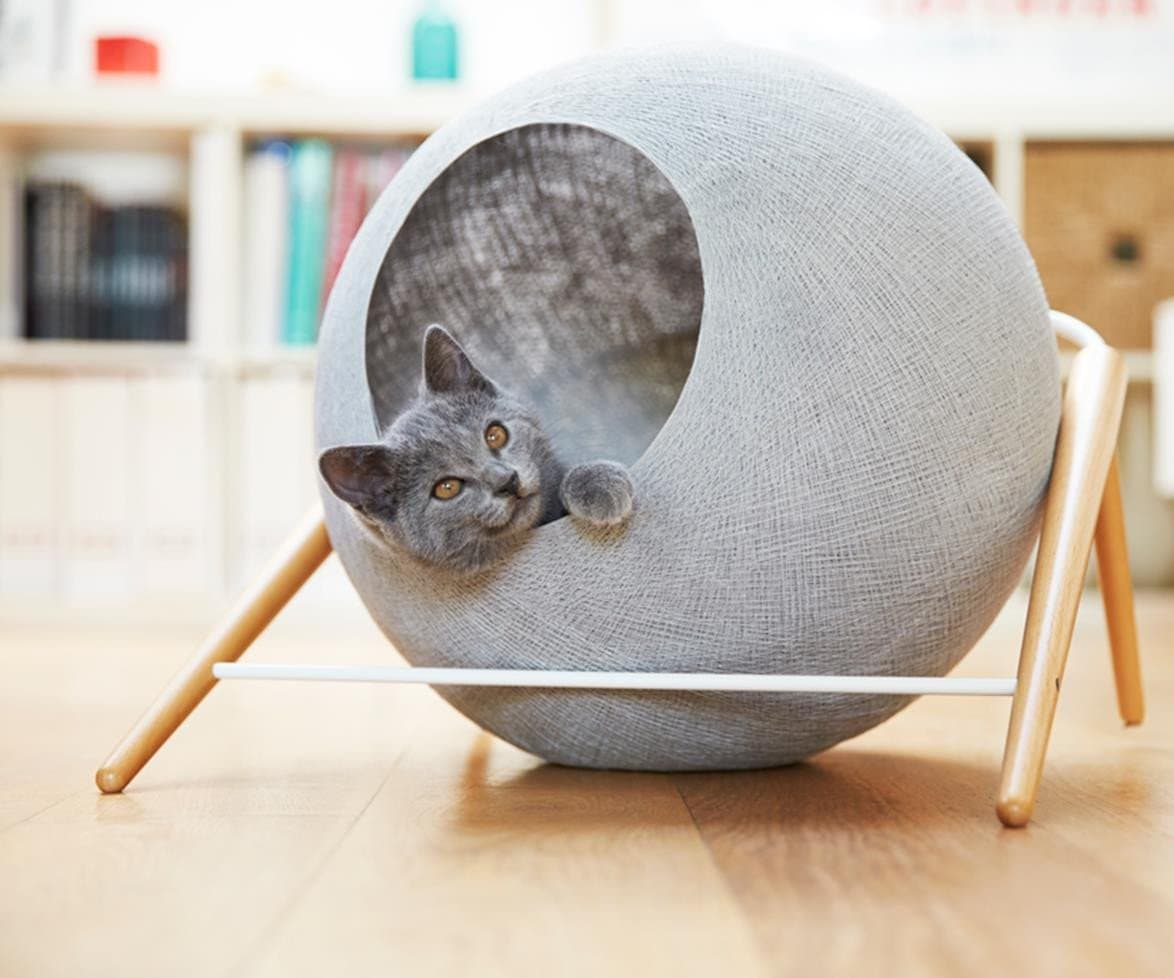 round grey dome style cat bed from d and c lifestyle