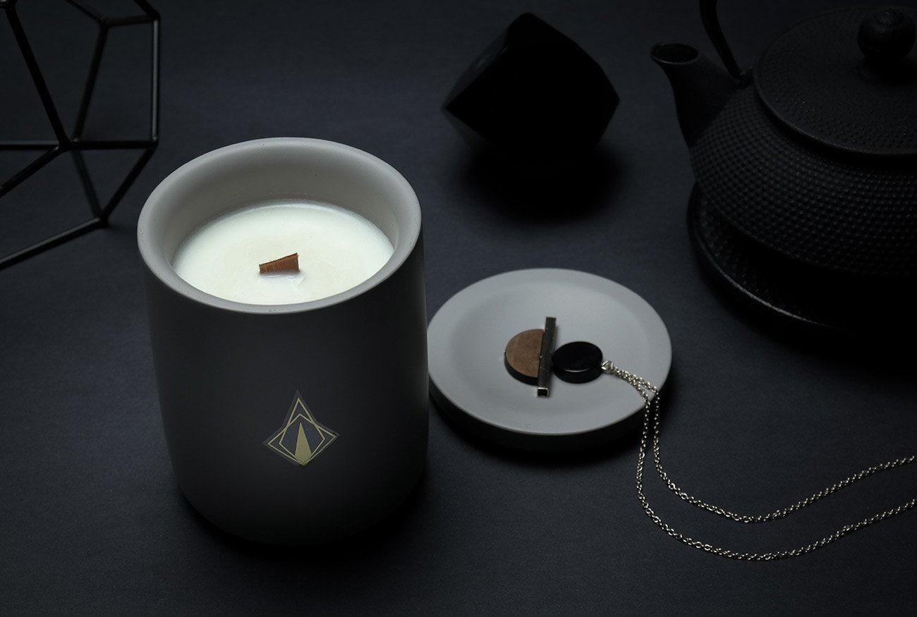 tanda modern grey concrete candle