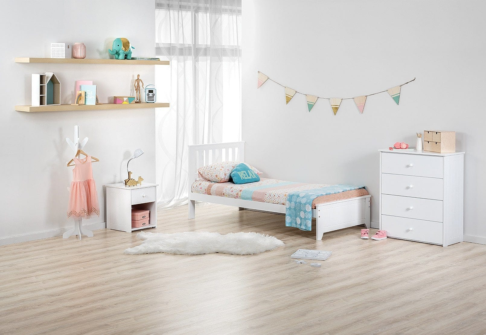 three piece white kids bedroom setting from amart furniture