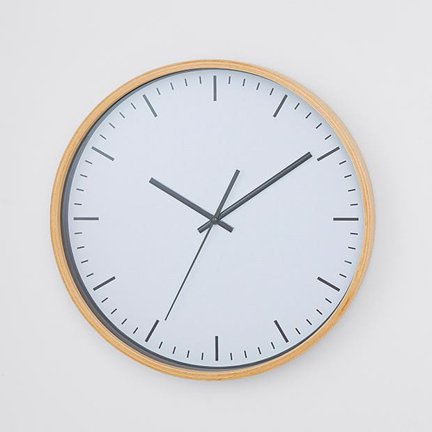 white and grey wall clock from target with blonde timber frame