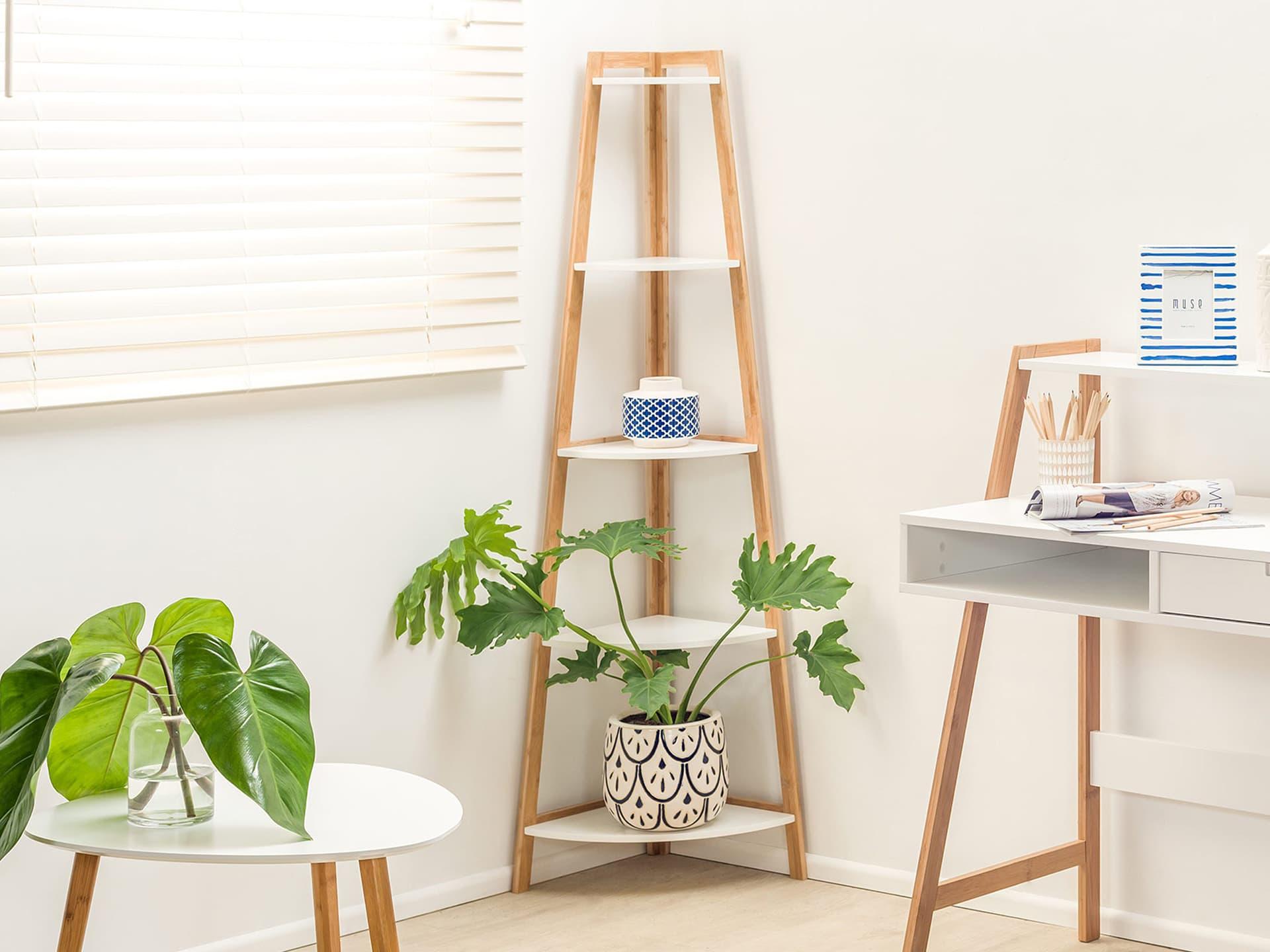 Maya corner shelf in white and blonde timber in corner of room