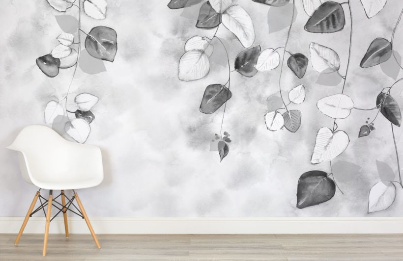 black and white leaf wallpaper design ideas from murals wallpaper