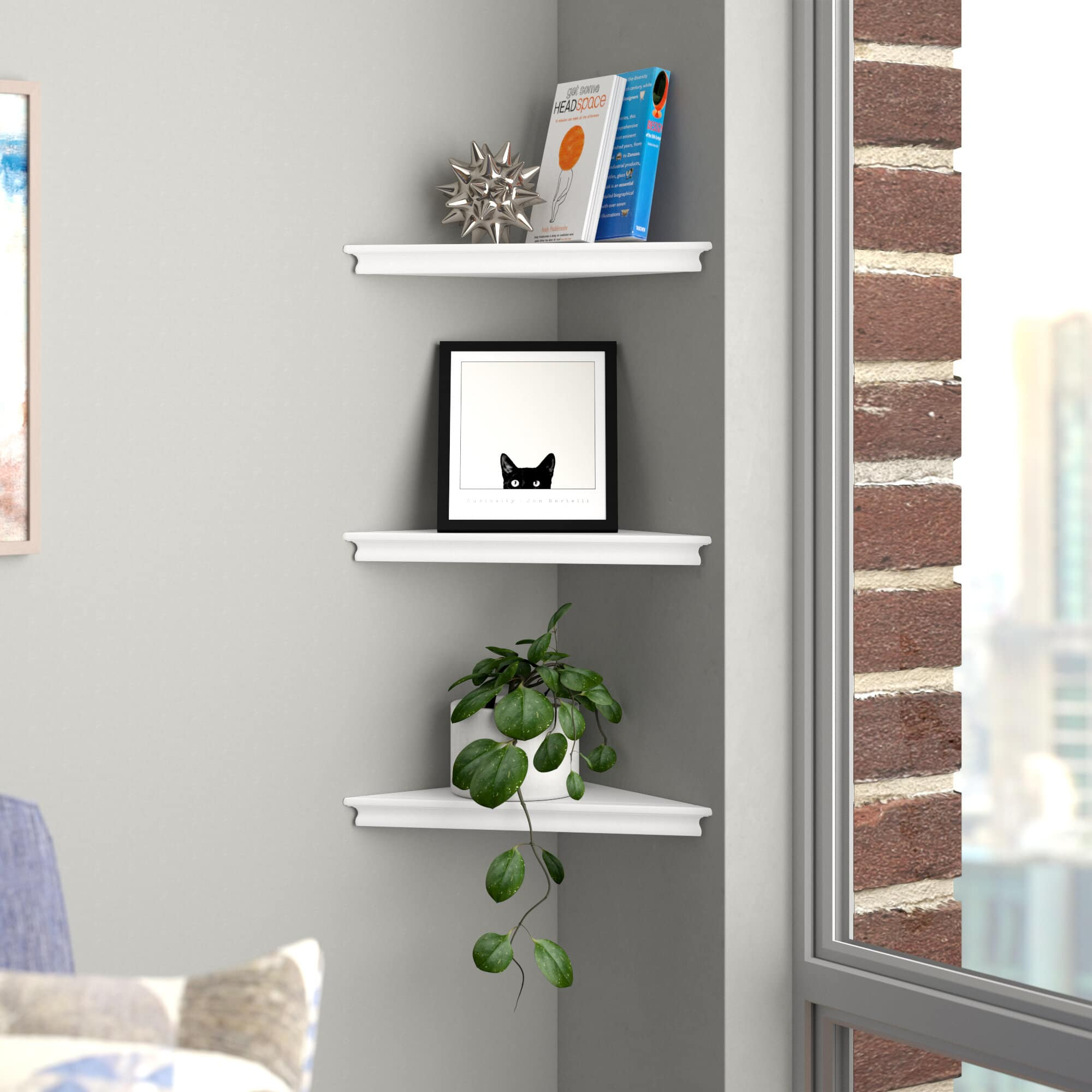 floating corner shelves in living room white shelves grey wall