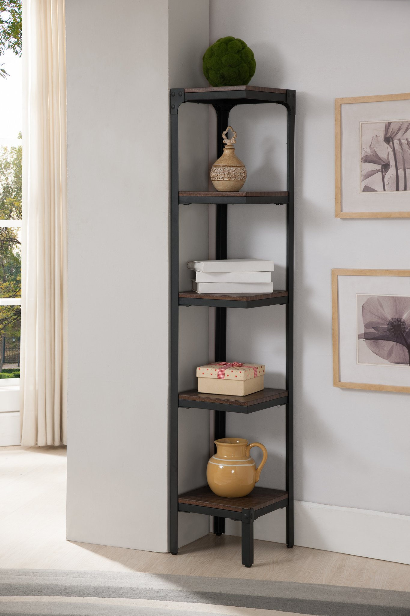 industrial corner bookcase in room with grey wall