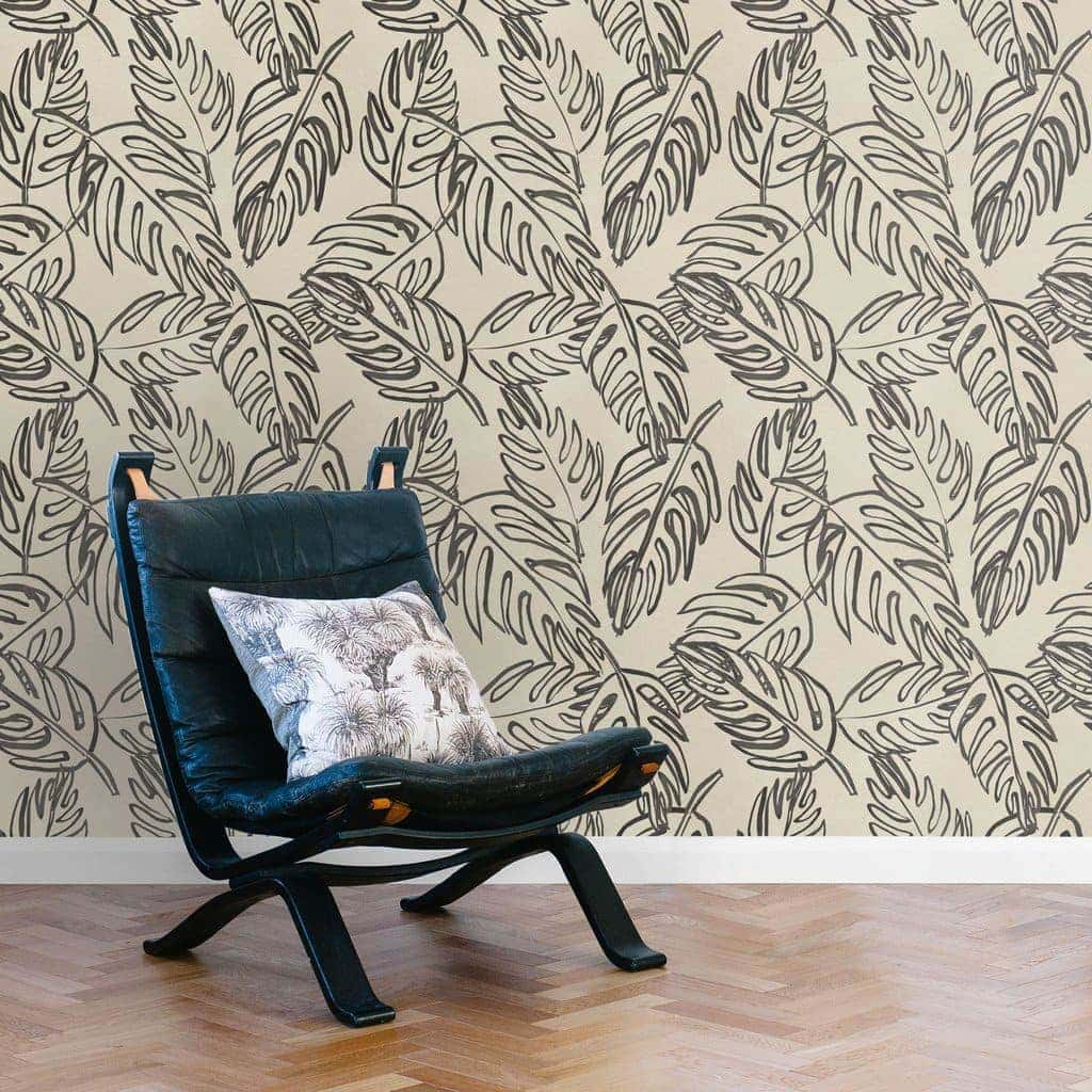 leaves wallpaper by these walls black and white wallpaper design ideas