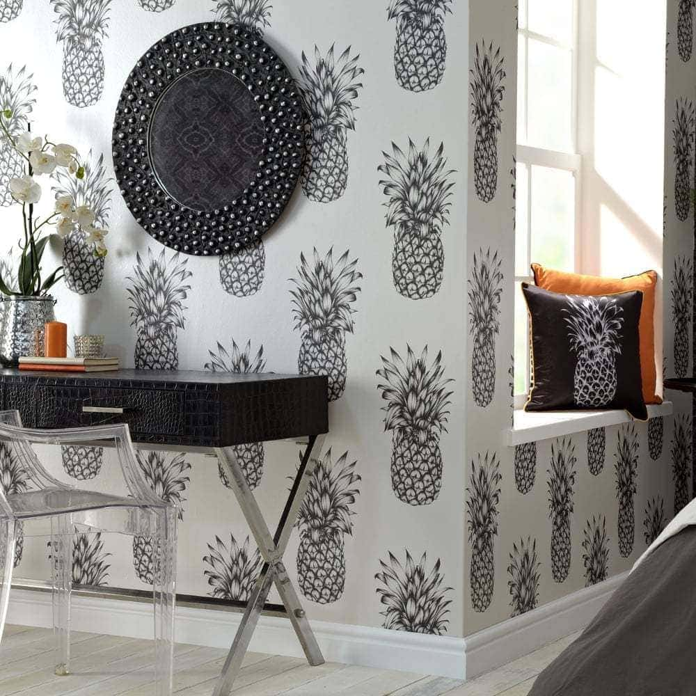 natty and polly black and white pineapple wallpaper design
