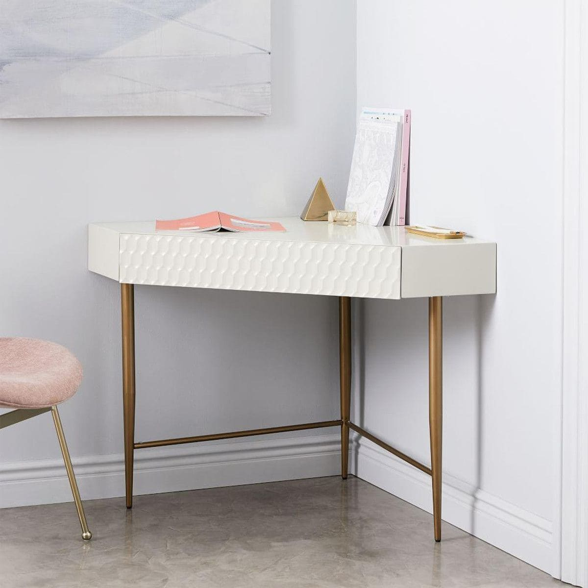 west elm corner desk in white with aged brass legs