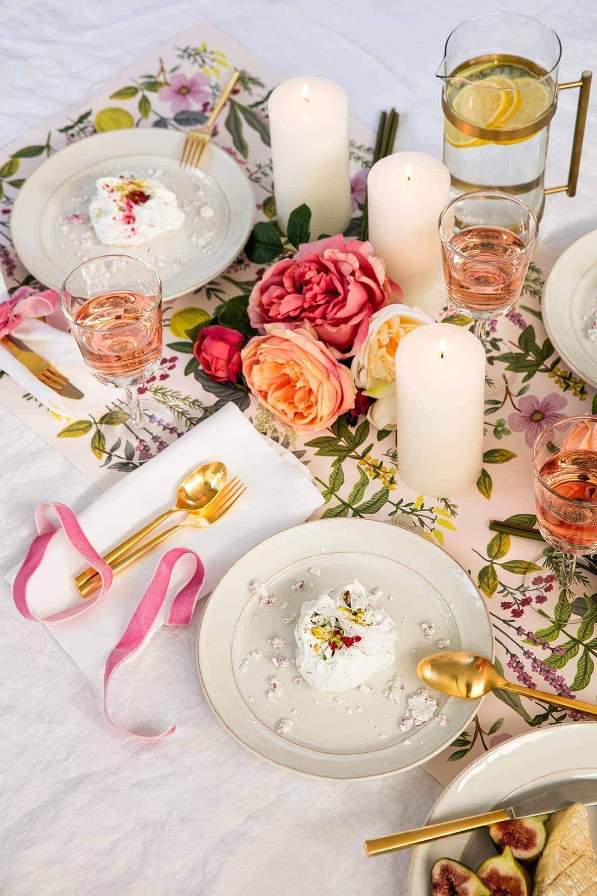 easy table styling ideas pink and white floral table setting from pottery barn