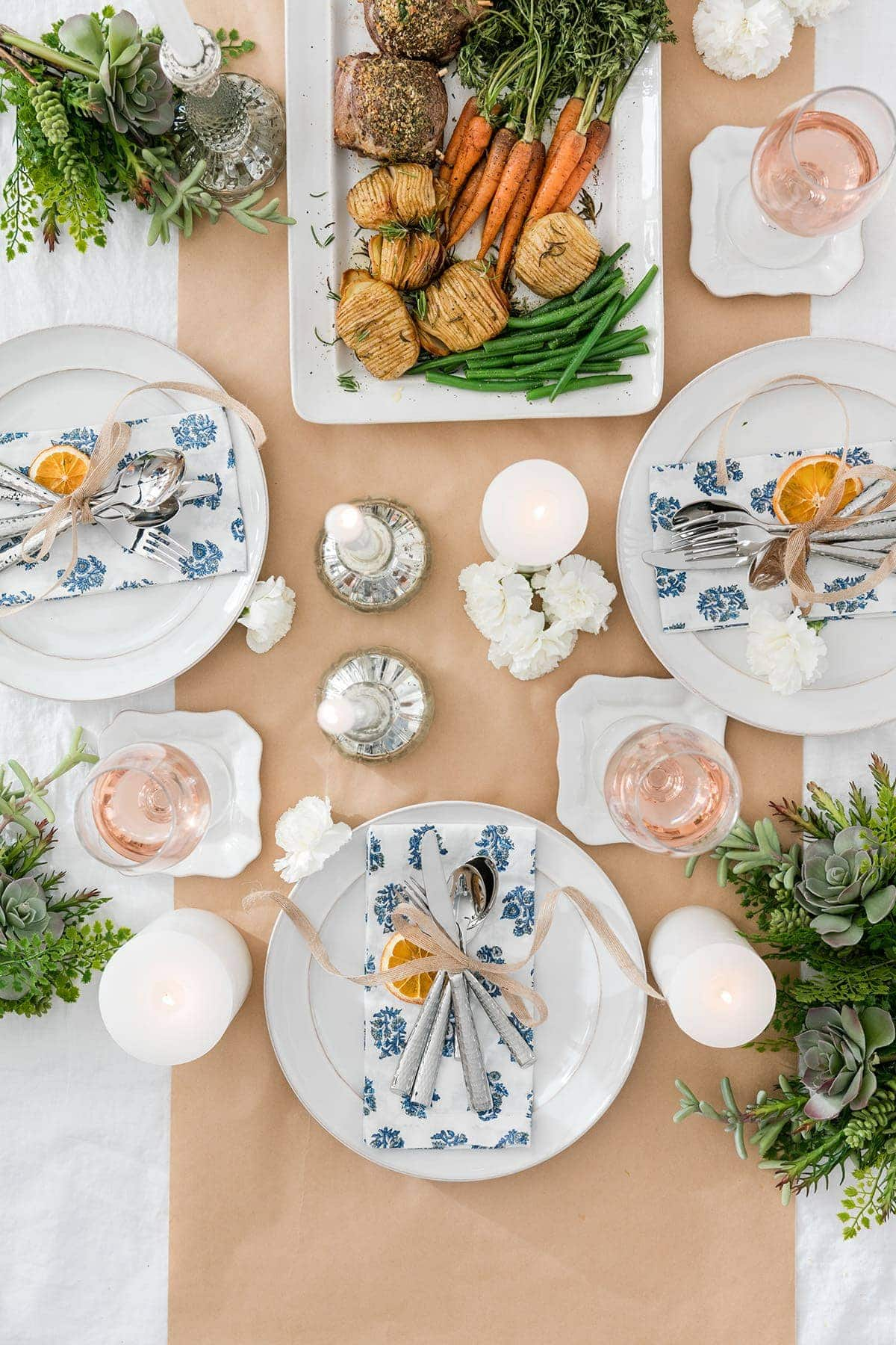 modern country table setting ideas with butchers paper table runner