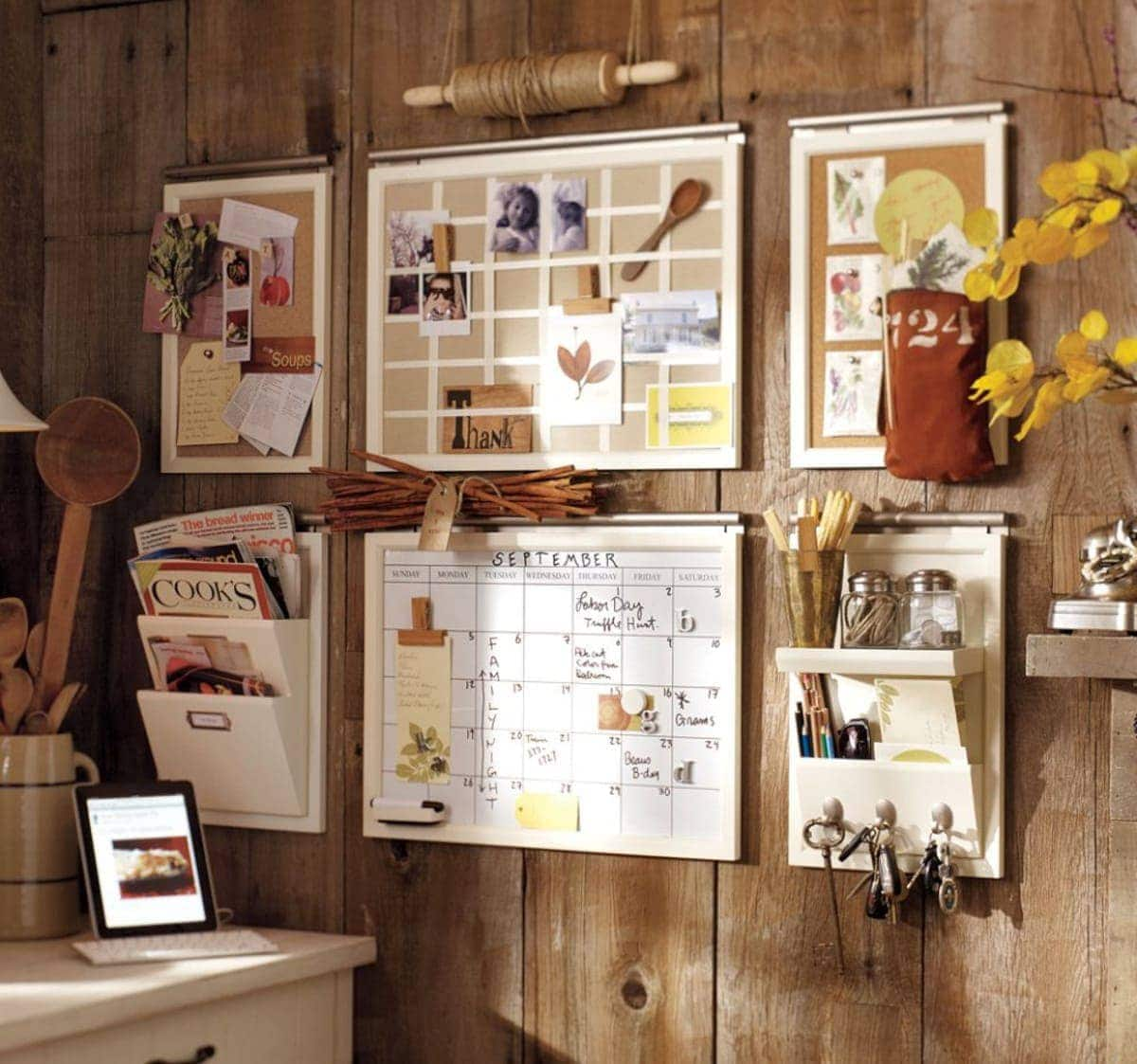pottery barn rustic home office with cork boards and mood board plus white board calendar