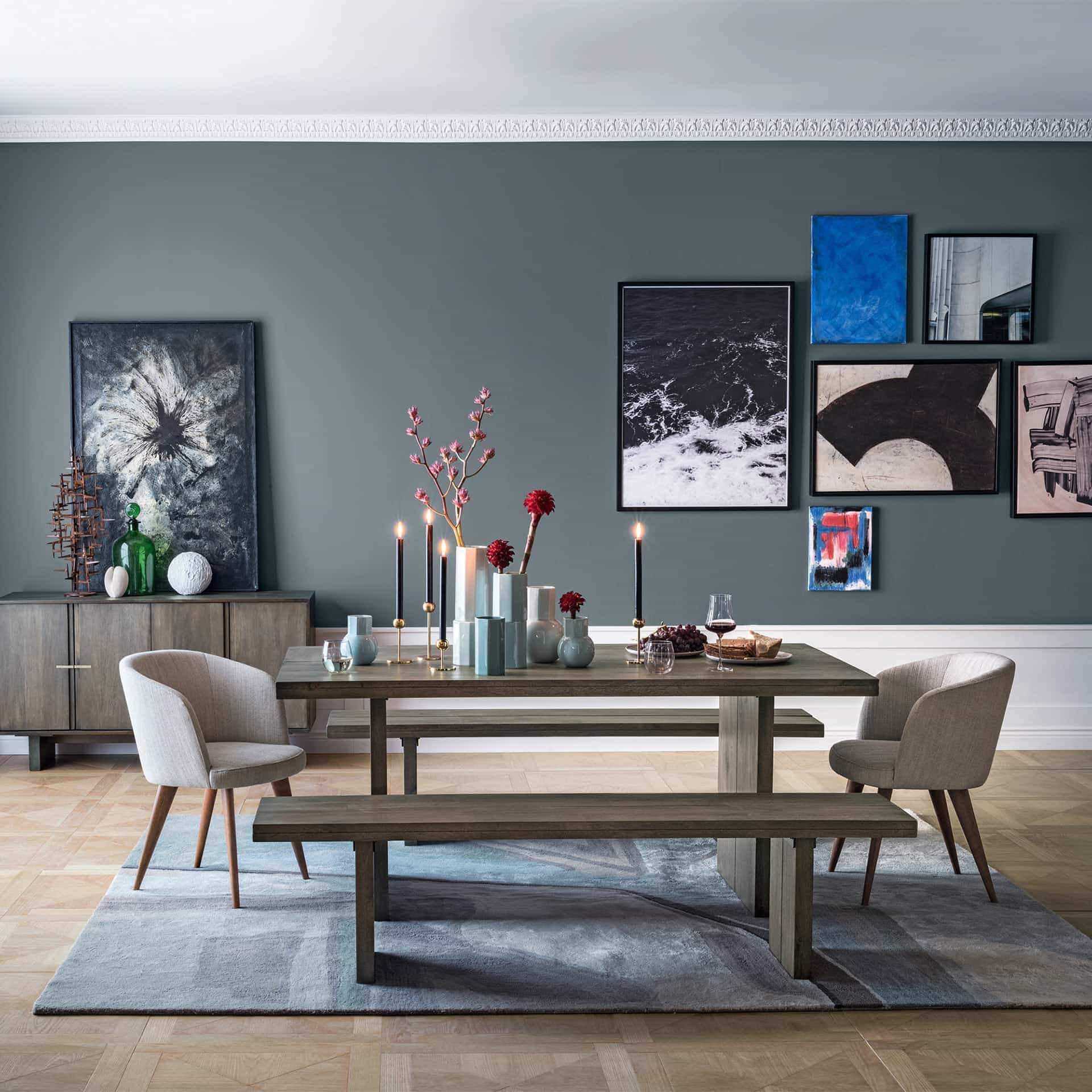 West Elm Dining Room With Grey Feature Wall And Gallery Wall With Pink  Artworks