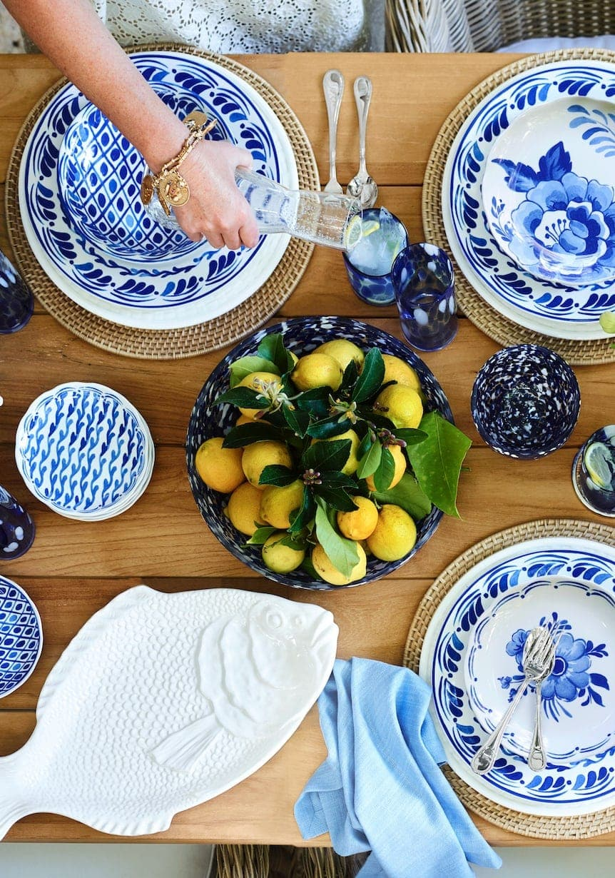 white and blue greek table setting ideas from william sonoma