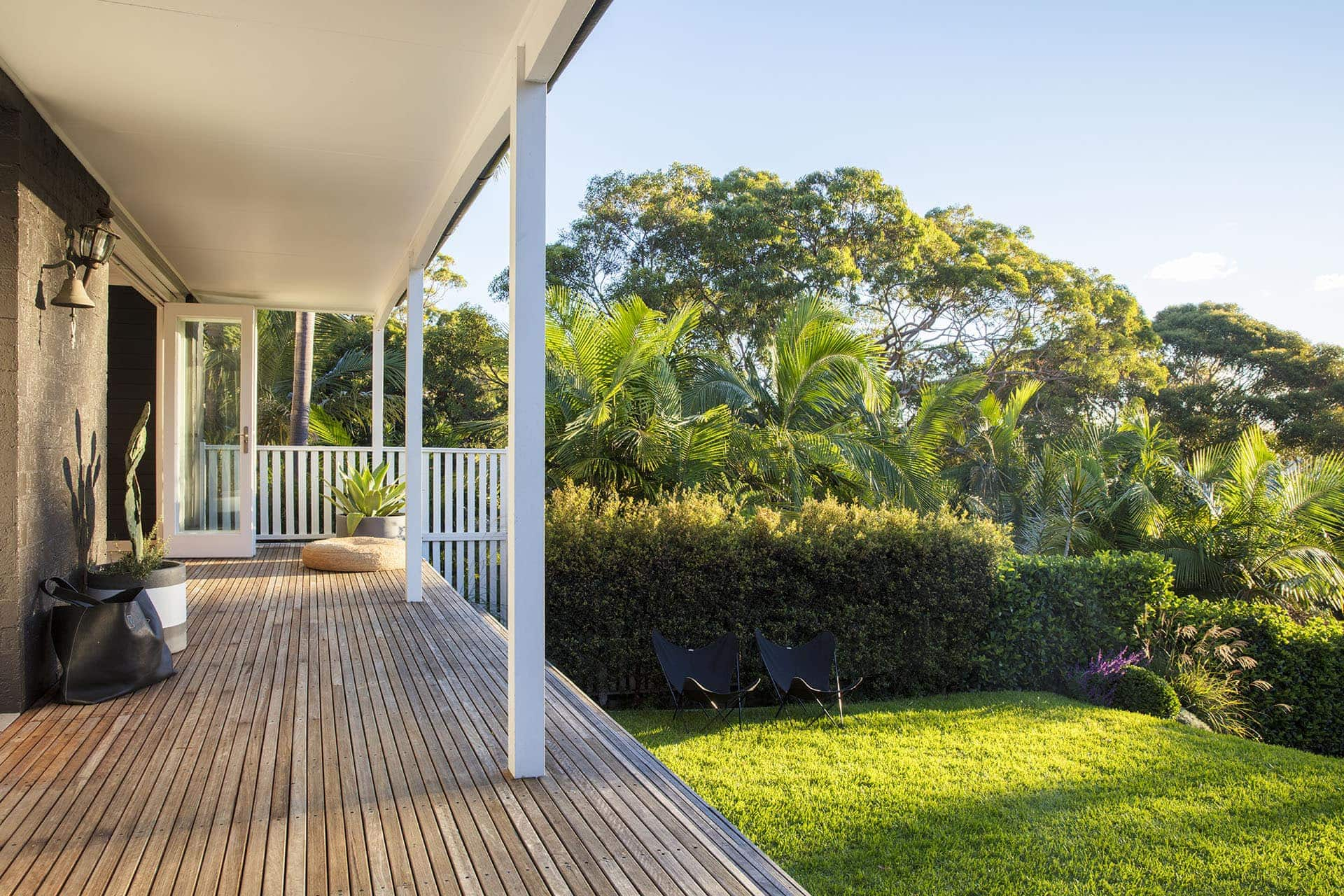 Timber decking front patio on raised home