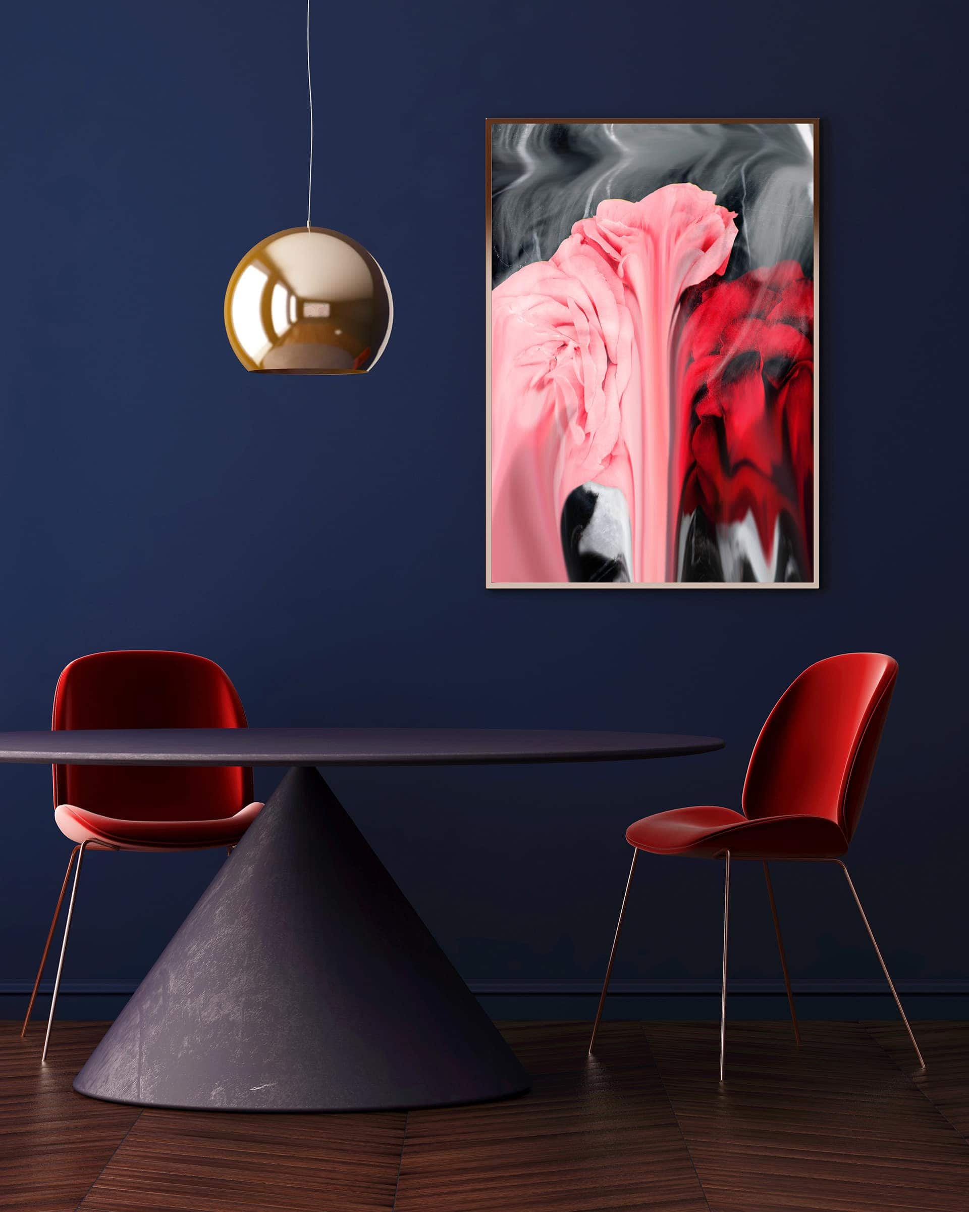 dark blue feature wall in dining room with maroon dining chairs
