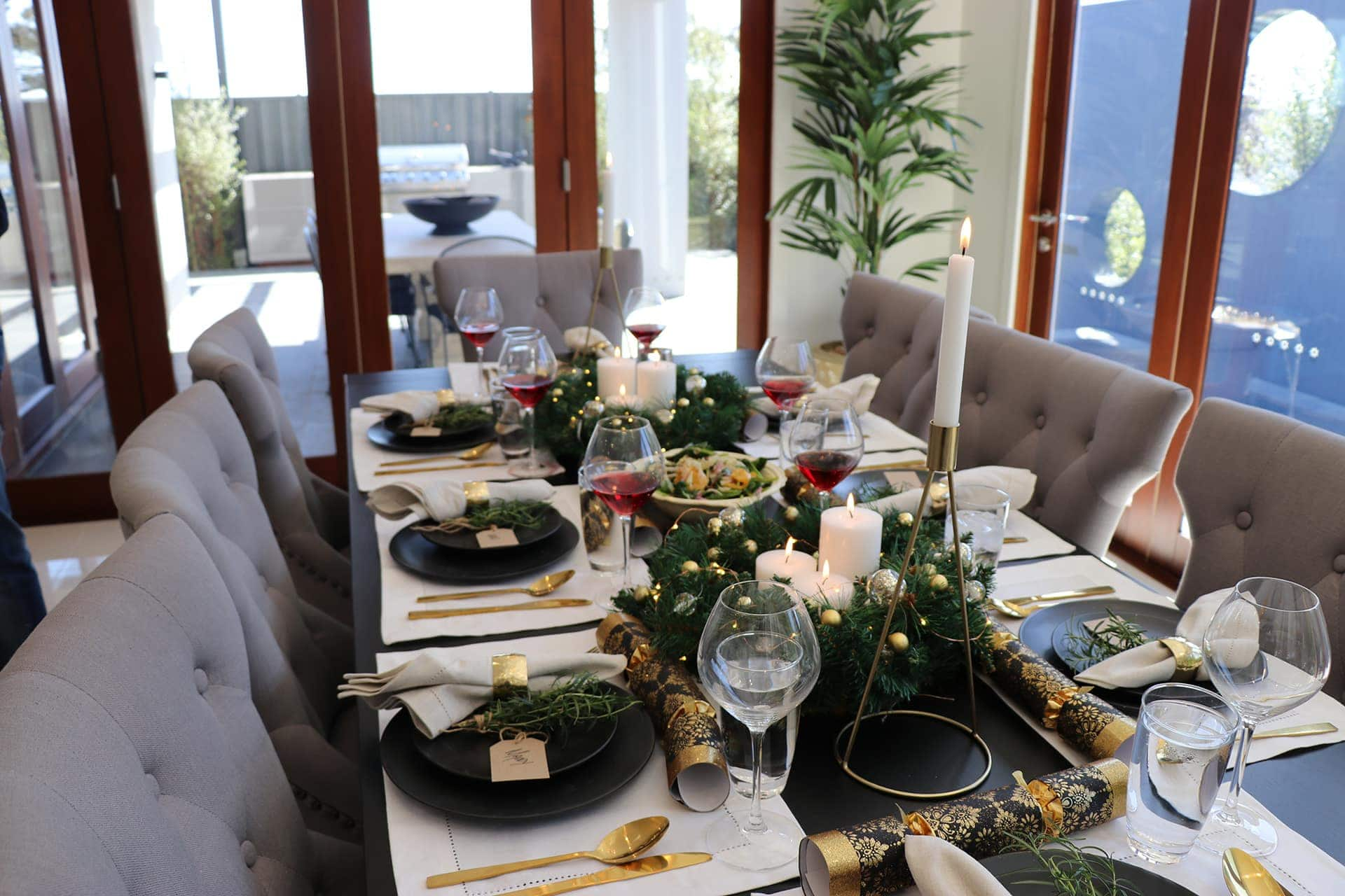 black and gold christmas table styling ideas on a budget