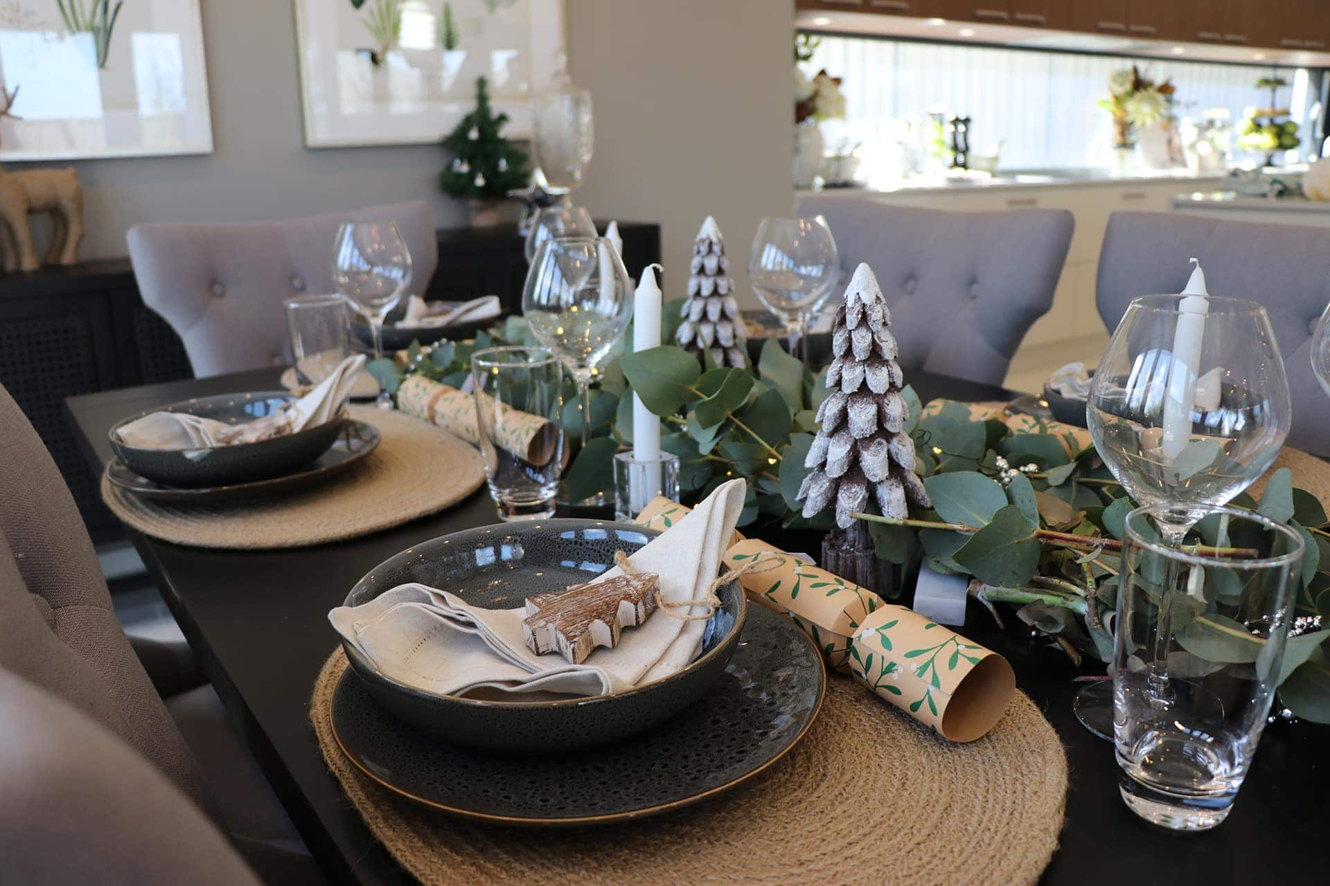earthy neutral christmas table setting with native gum centrepiece